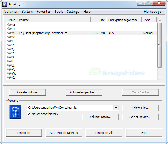 screen capture of TrueCrypt