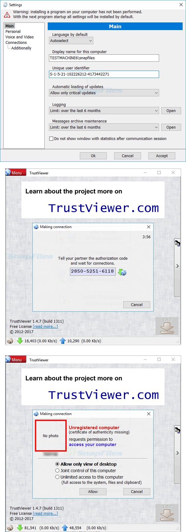 screenshot of TrustViewer