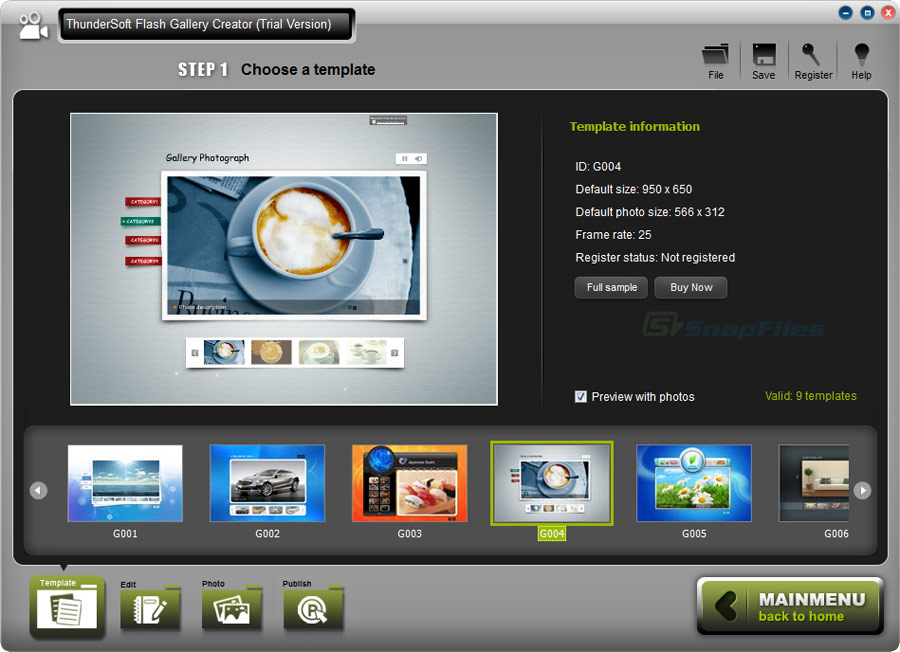 screen capture of ThunderSoft Flash Gallery Creator