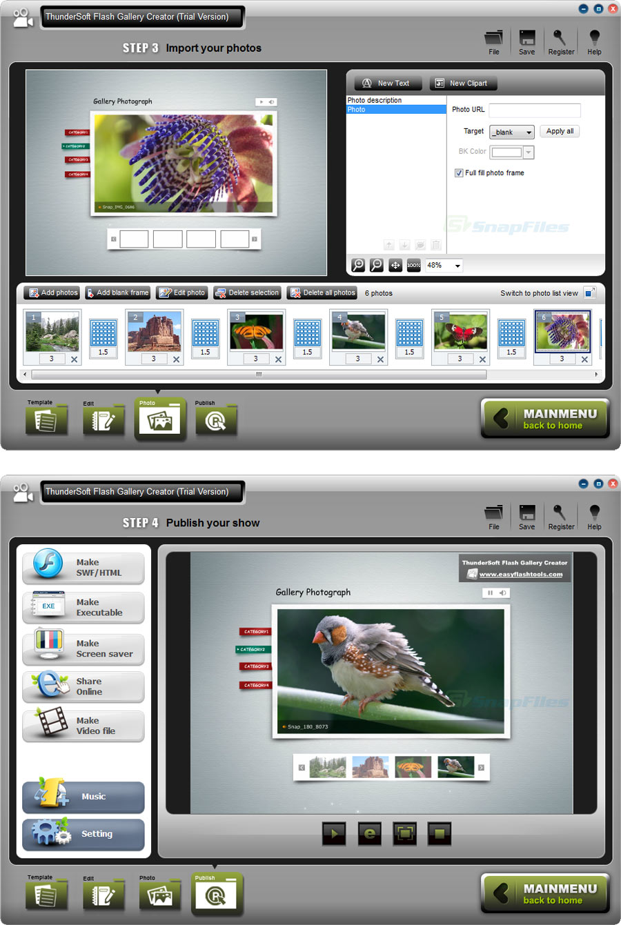screenshot of ThunderSoft Photo Gallery Creator