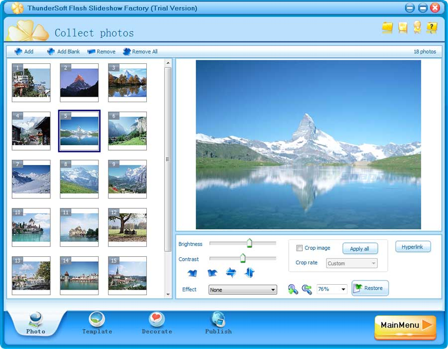 screen capture of ThunderSoft Flash Slideshow Factory