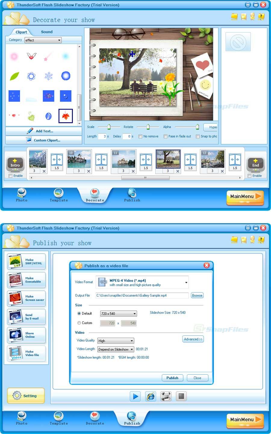 screenshot of ThunderSoft Flash Slideshow Factory