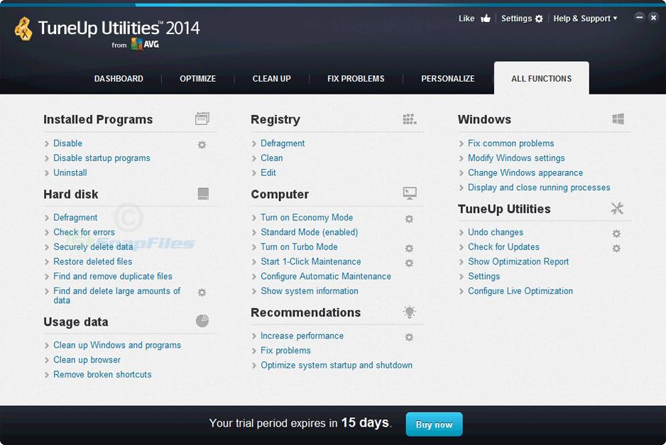 screenshot of TuneUp Utilities 2012