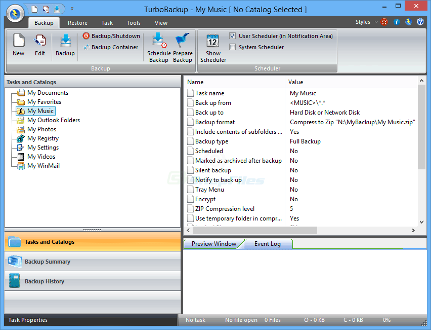 screen capture of TurboBackup