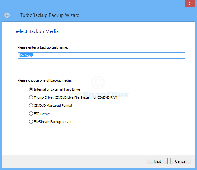 screenshot of TurboBackup