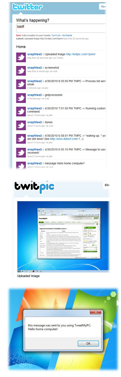 screenshot of TweetMyPC