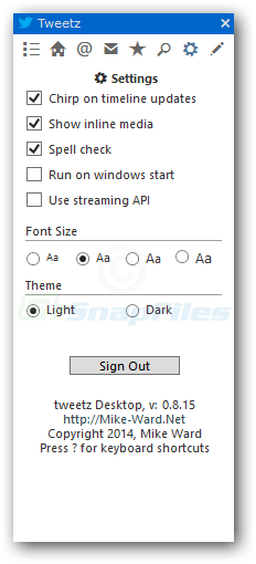 screenshot of Tweetz Desktop
