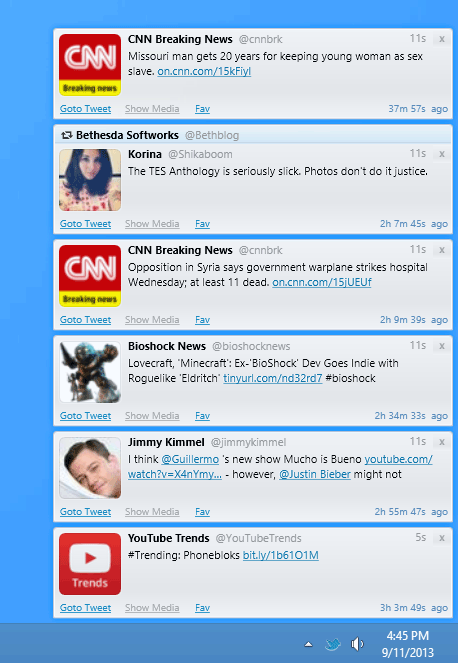 screen capture of Twittalert