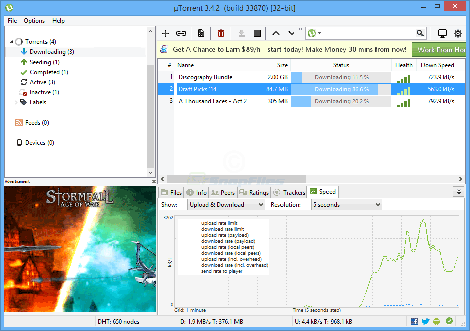 screen capture of uTorrent