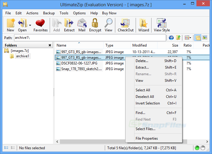 screen capture of UltimateZip