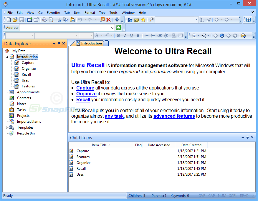 screen capture of Ultra Recall
