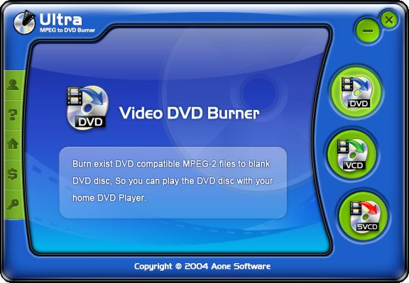 screen capture of Ultra MPEG to DVD Burner