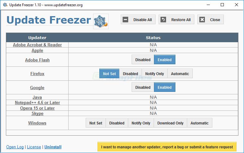 screen capture of UpdateFreezer