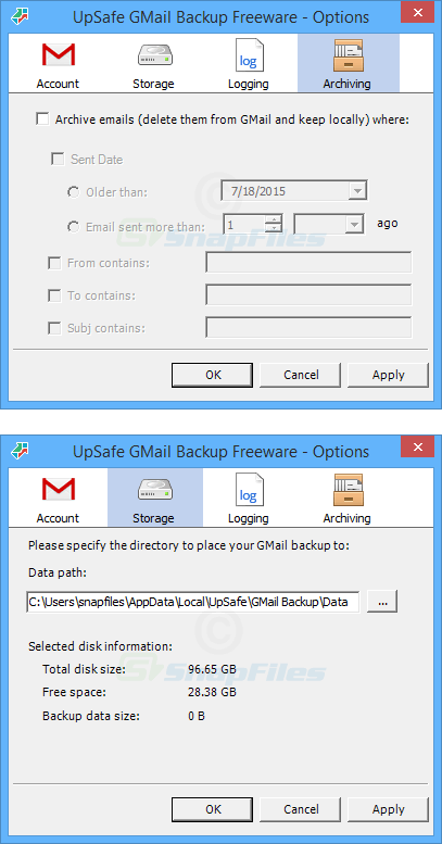 screenshot of UpSafe Gmail Backup