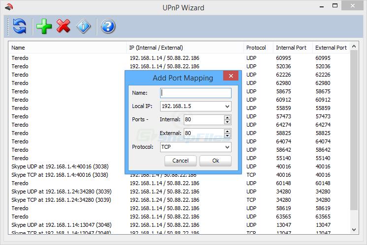 screenshot of UPnP Wizard