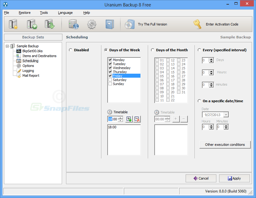 screenshot of Uranium Backup Free