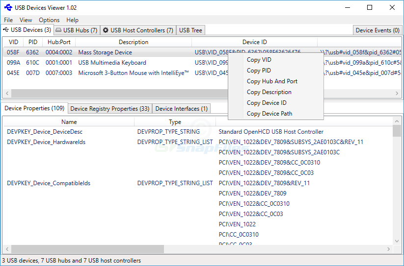 screen capture of USB Devices Viewer