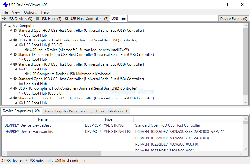 screenshot of USB Devices Viewer
