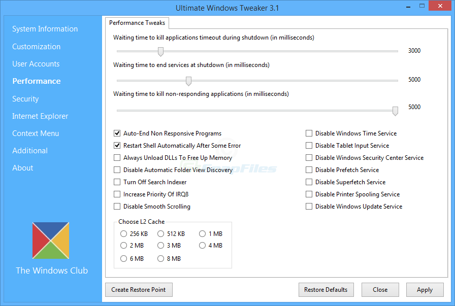 screenshot of Ultimate Windows Tweaker (Windows 8)