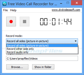 screen capture of Free Video Call Recorder for Skype