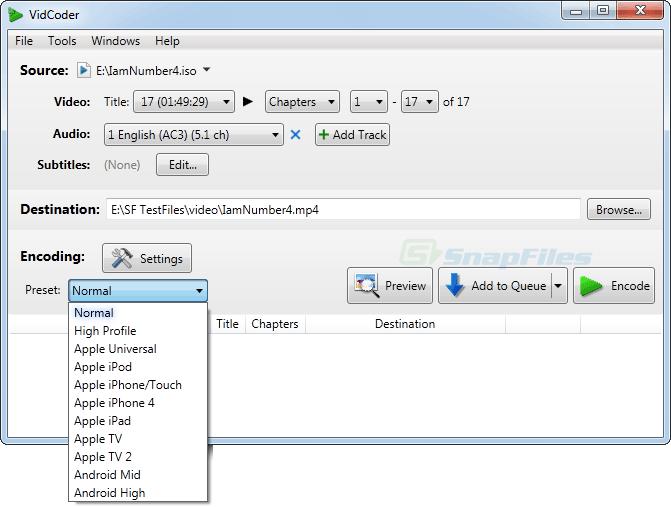 screen capture of VidCoder