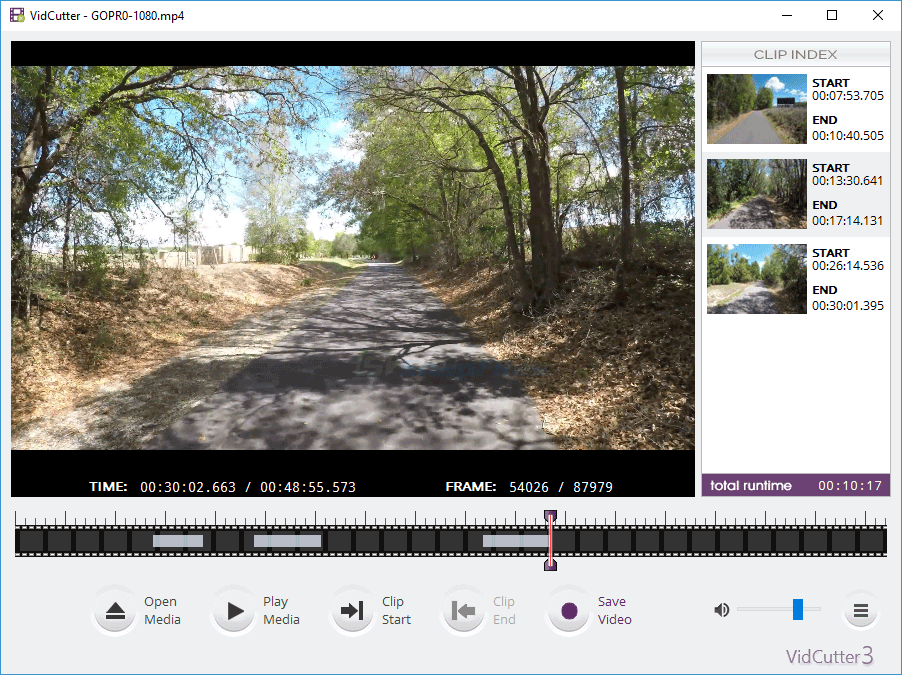 screen capture of VidCutter