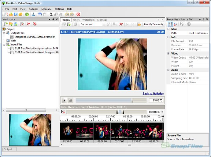 screen capture of Videocharge Studio