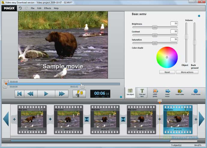 screen capture of MAGIX Video Easy