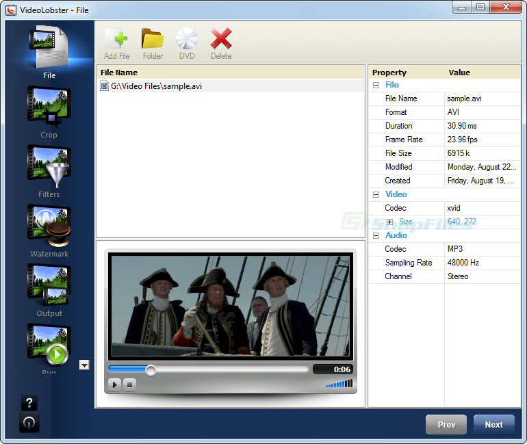 screen capture of VideoLobster (Free Version)