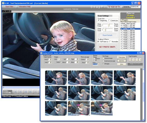 screen capture of VideoSnaps