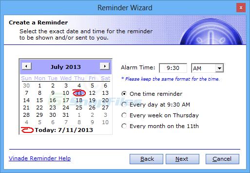 screenshot of Vinade Reminder