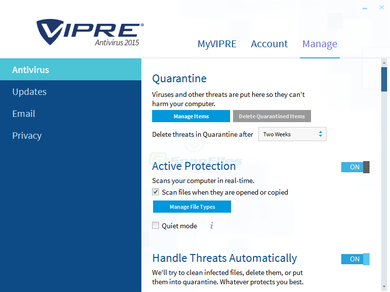 screenshot of VIPRE Antivirus