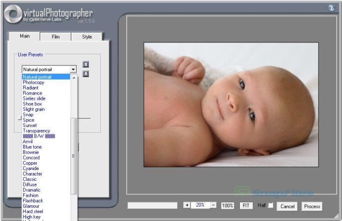 screen capture of virtualPhotographer