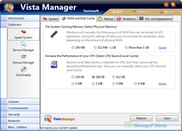 screen capture of Vista Manager