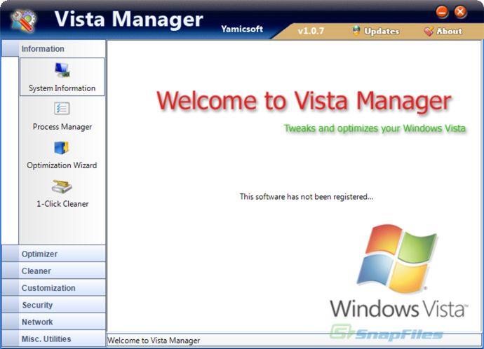 screenshot of Vista Manager