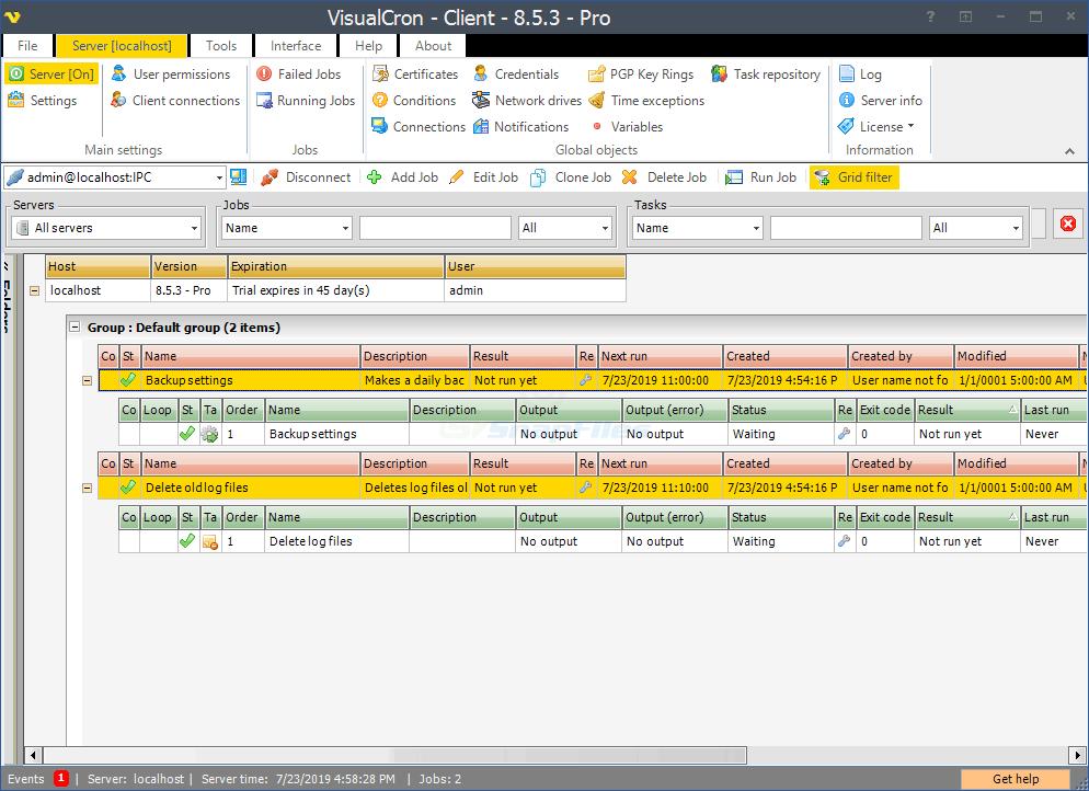 screen capture of VisualCron