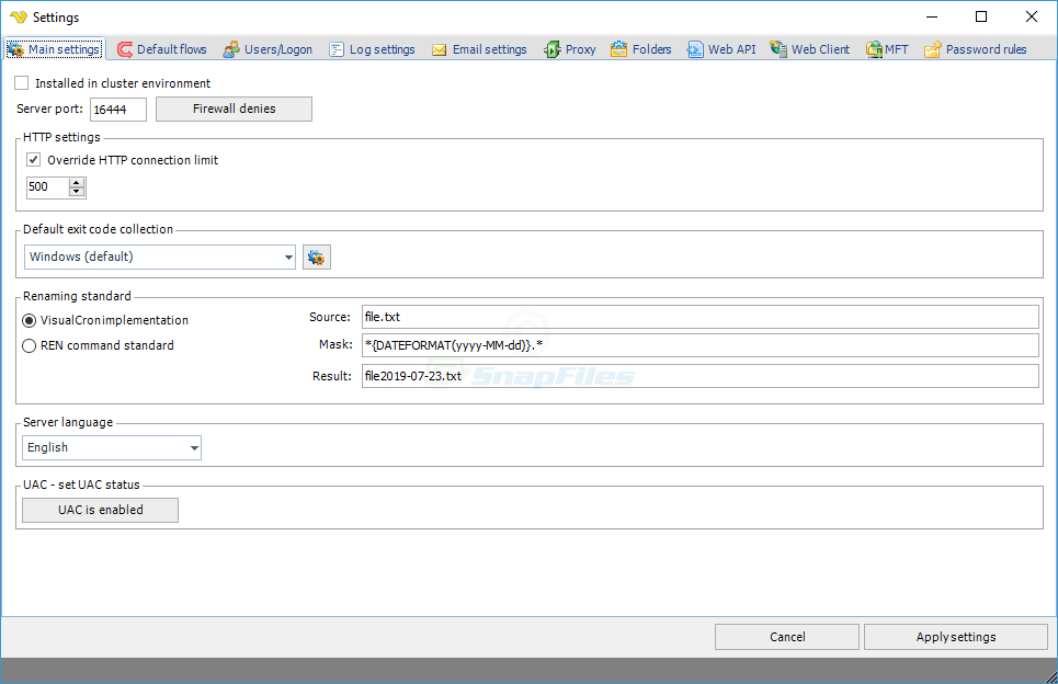 screenshot of VisualCron