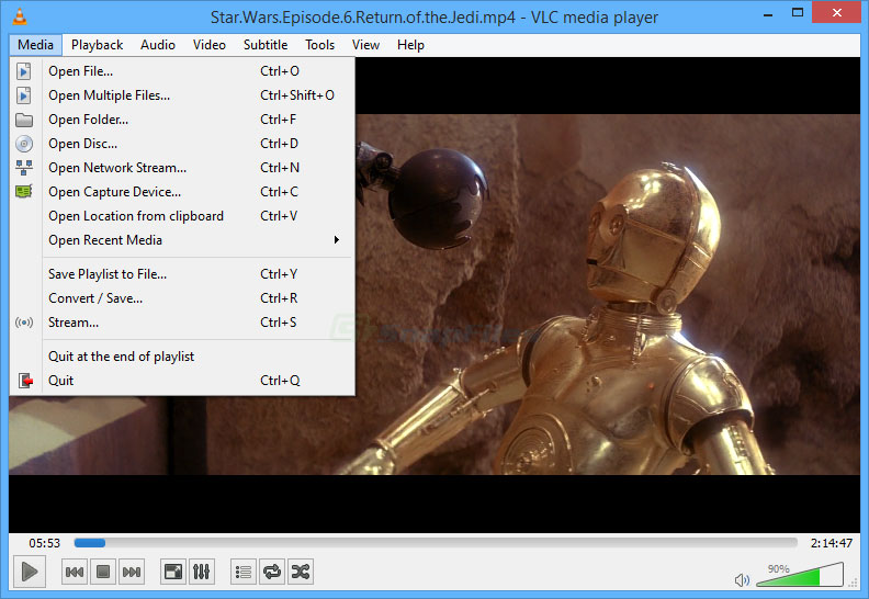 screen capture of VLC Media Player