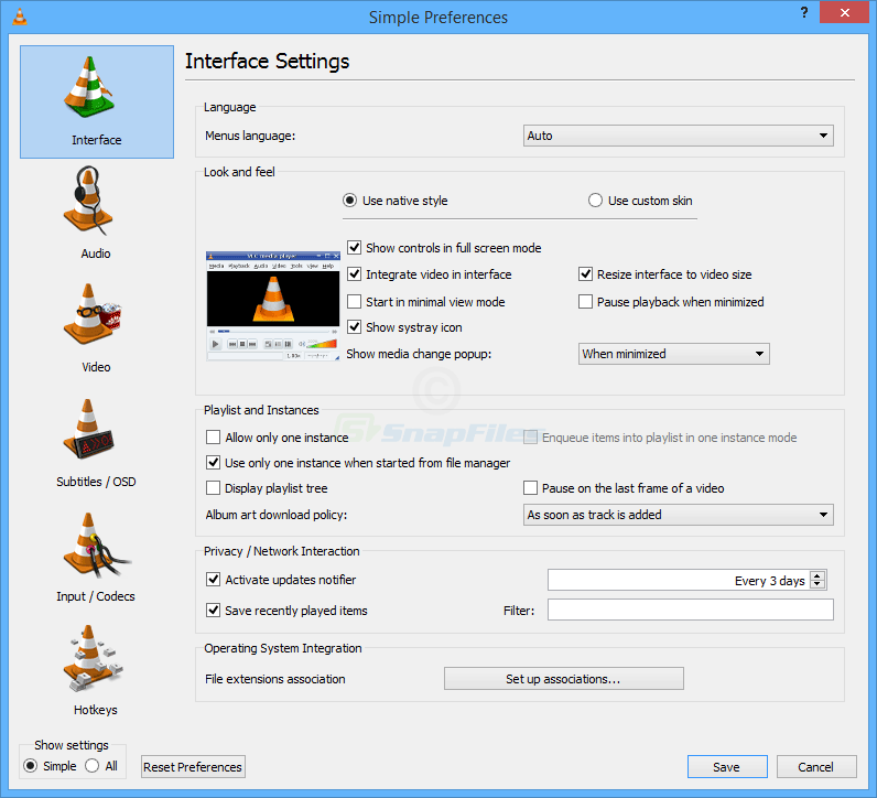 screenshot of VLC Media Player