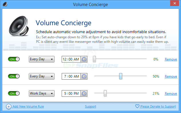 screen capture of Volume Concierge