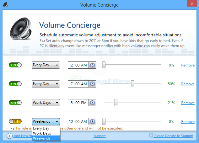 screenshot of Volume Concierge