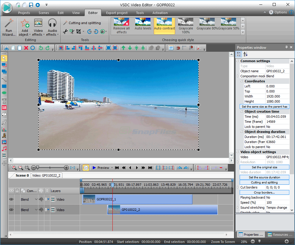VSDC Free Video Editor screenshot and download at SnapFiles com