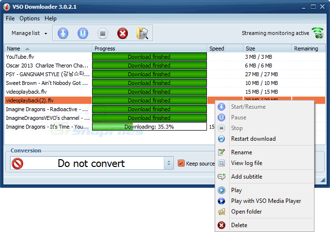 screen capture of VSO Downloader