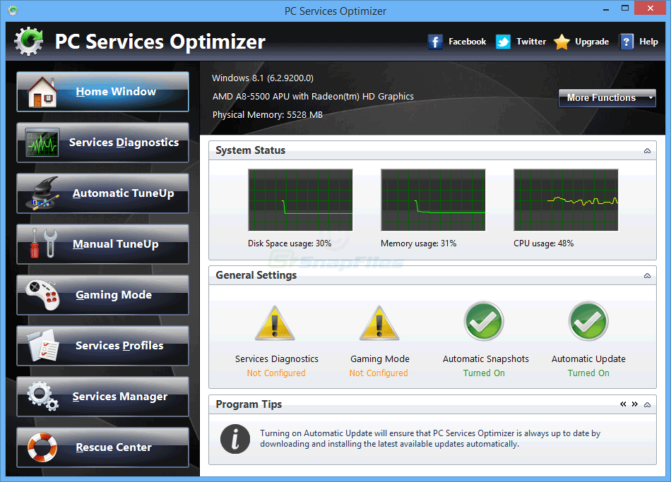 screen capture of PC Services Optimizer