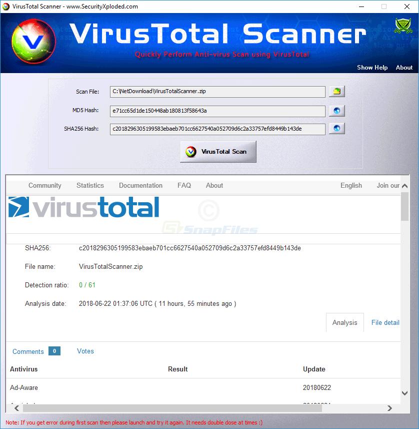 screen capture of VirusTotal Scanner