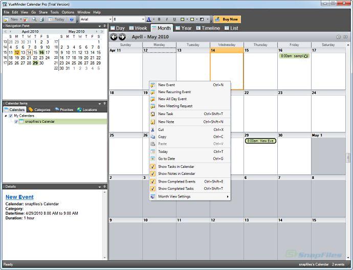 VueMinder Calendar Pro is a full-featured calendar program that supports