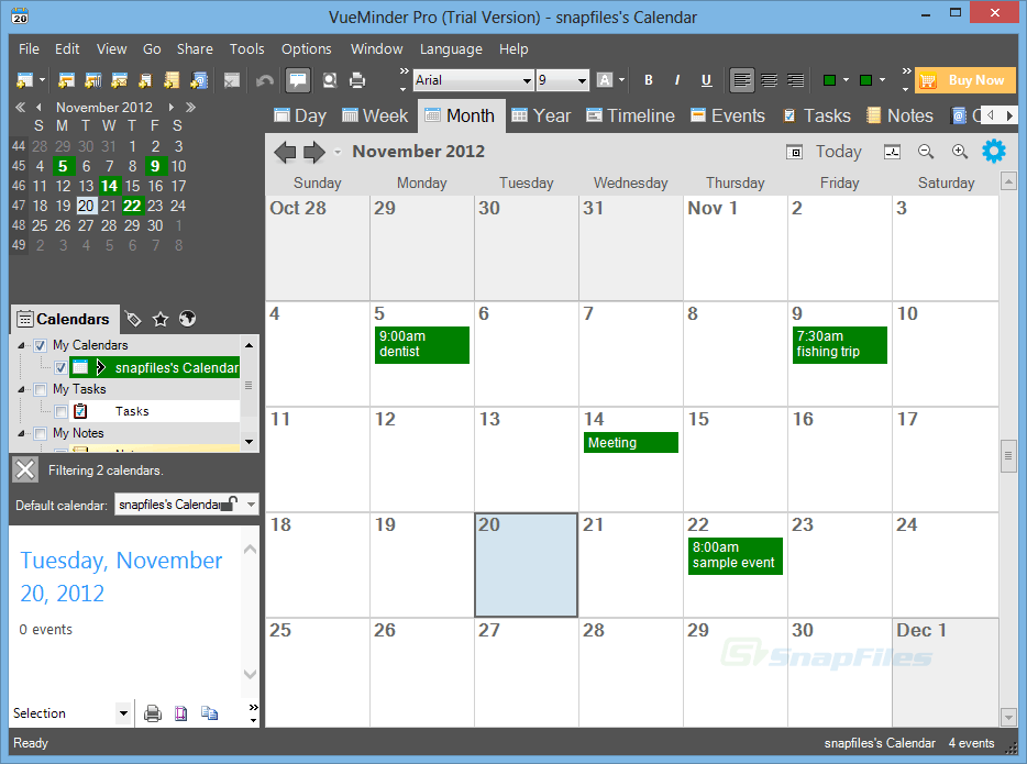 screen capture of VueMinder Calendar Pro