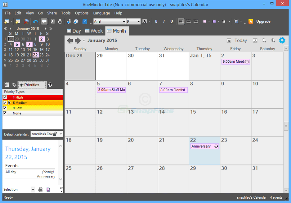VueMinder Calendar Lite - Freeware download and reviews from SnapFiles