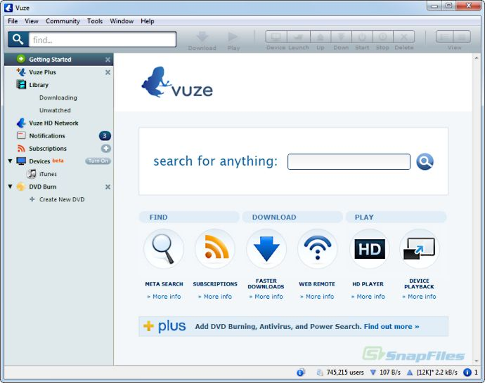 screen capture of Vuze