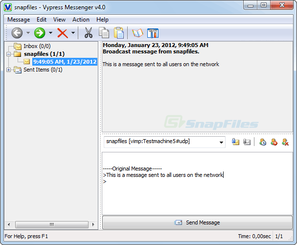 screen capture of Vypress Messenger